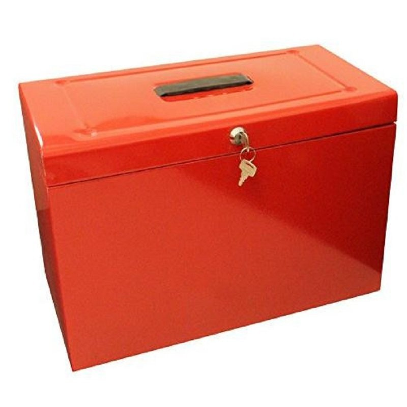 Image of Cathedral A4 Metal File Box Red