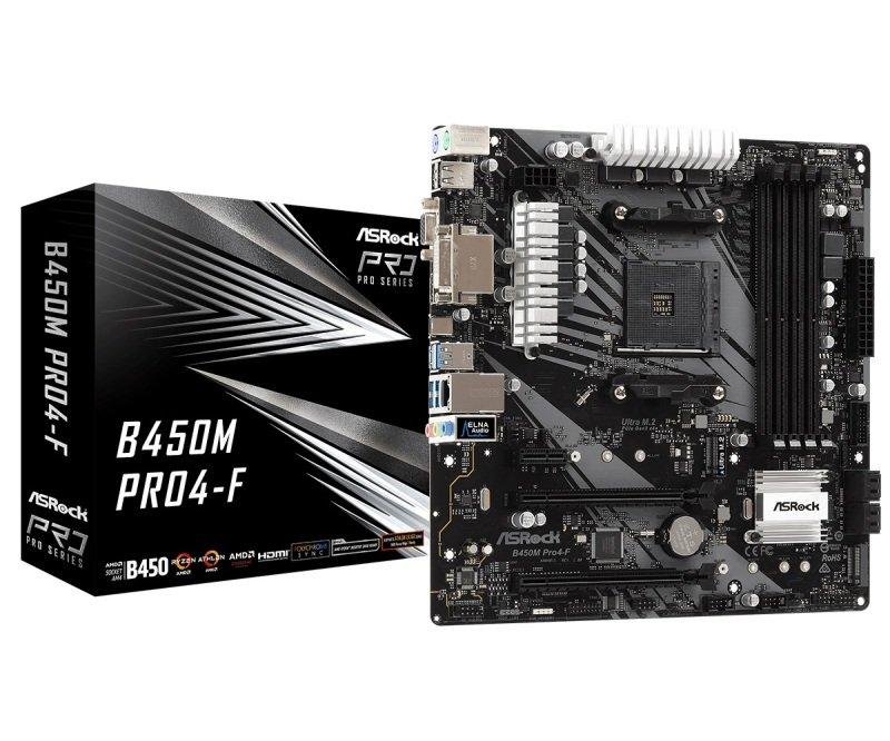 ASRock B450M Pro4-F AM4 DDR4 mATX Motherboard