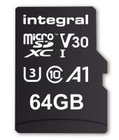 Integral 64GB 100/70MB Class 10 V30 UHS-I U3 MicroSD Card