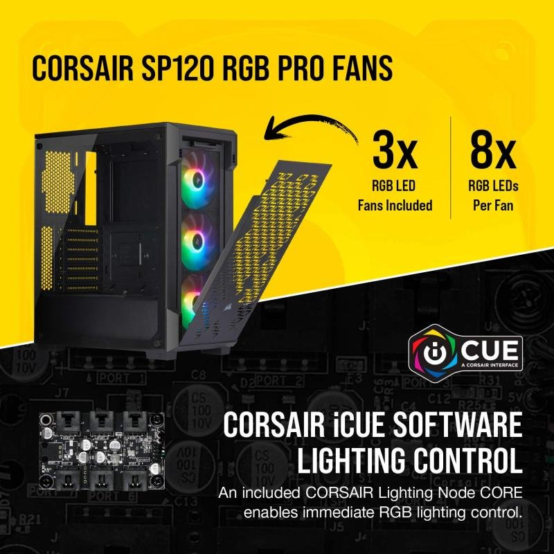 Corsair iCue 220T RGB Airflow Tempered Glass Mid-Tower Smart Case, Black