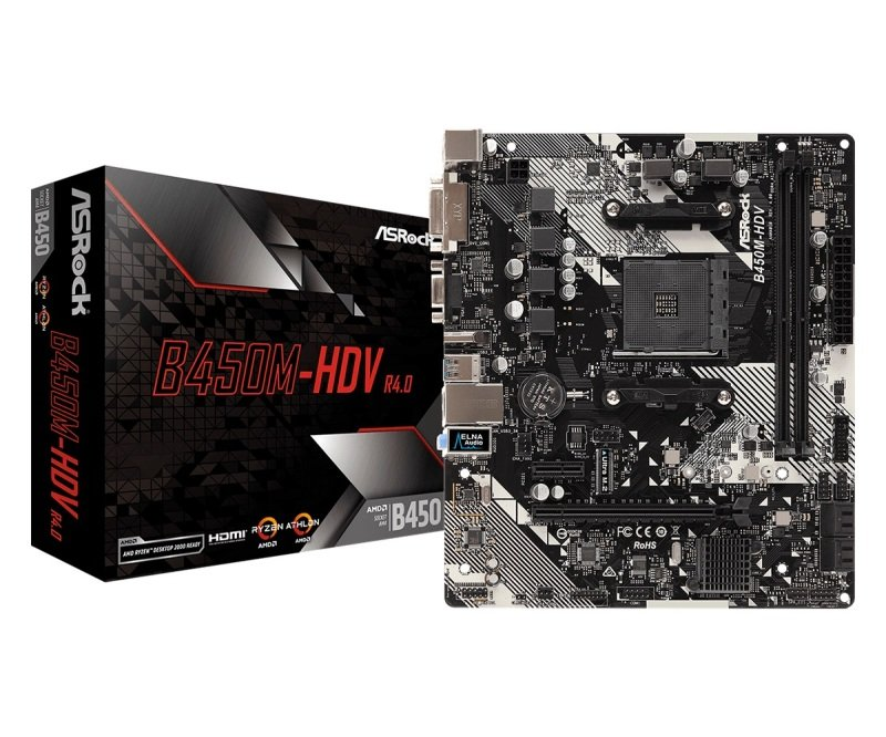 ASRock B450M-HDV R4.0 AM4 DDR4 mATX Motherboard