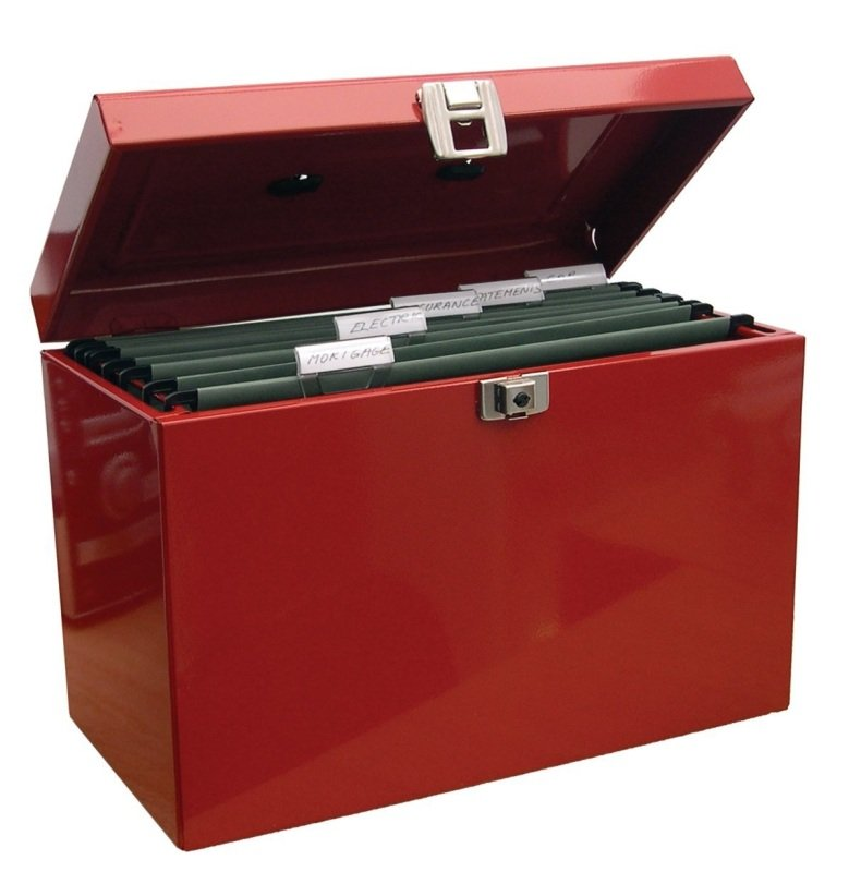 Image of CATHEDRAL FSCAP METAL FILE BOX RED HORD