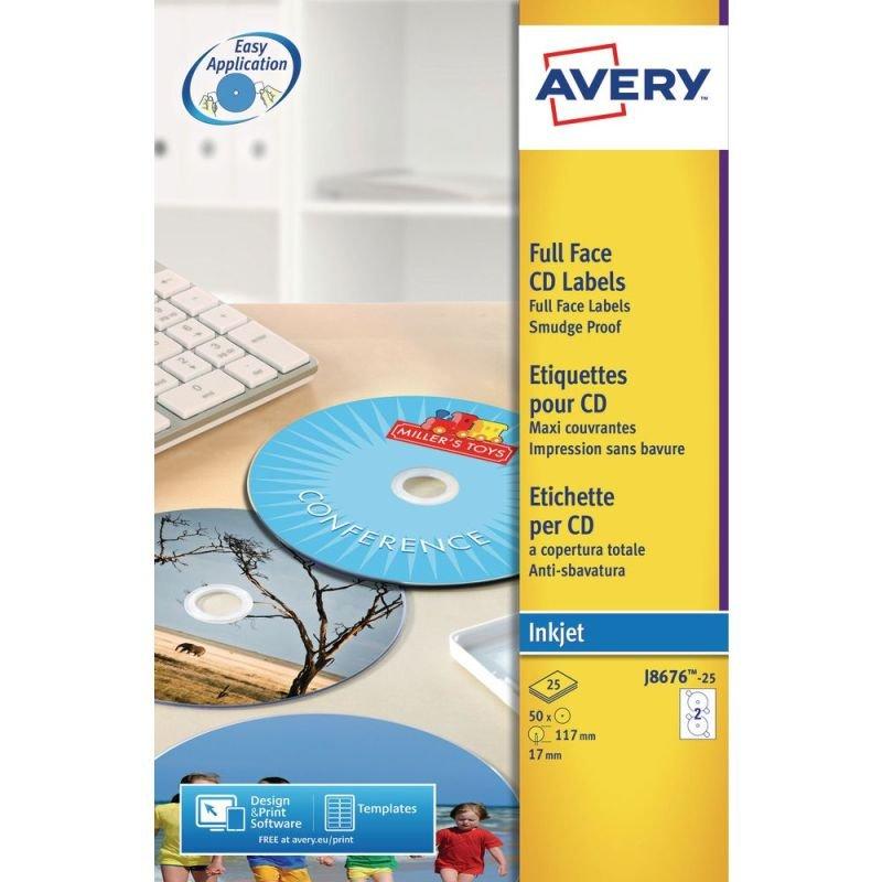 AVERY INKJET FULL FCE CD/DVD LBLS 25SHTS
