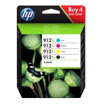 HP 912XL Black and Colour Ink Cartridge 4 Pack