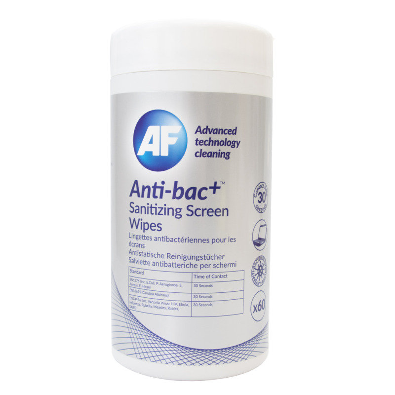 Image of AF Anti-Bacterial Sanitising Screen Wipes - Pack Of 60