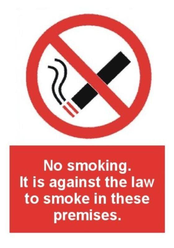Extra Value A5 Self Adhesive Safety Sign - No Smoking