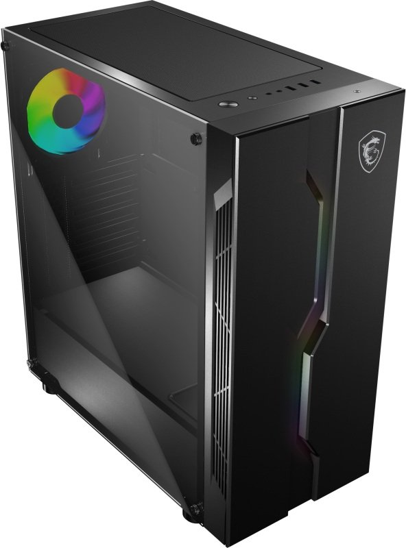 MSI MAG VAMPIRIC 010X ARGB Mid Tower Gaming Computer Case Black + MSI ARGB Hub with Remote