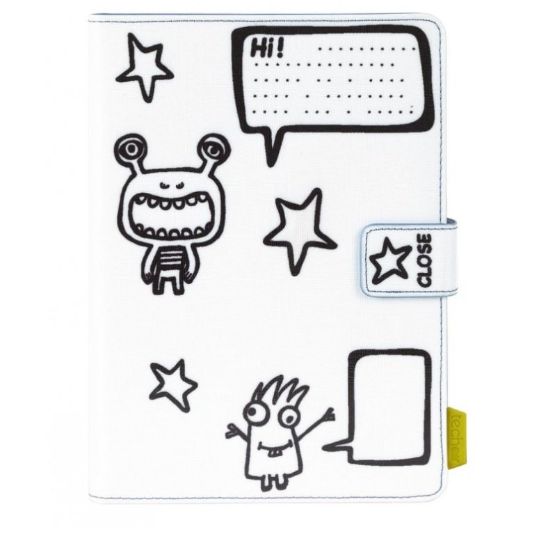 TECHAIR 7-8 Monsters Universal Kids tablet case with erasable markers and wiping cloth