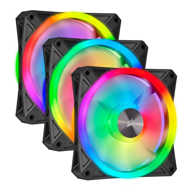 CORSAIR iCUE QL120 RGB 120mm PWM Triple Fan with Lighting Node CORE