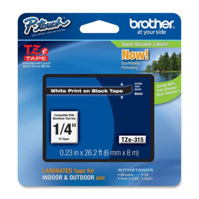 Brother TZe 315 Laminated adhesive tape- White on Black