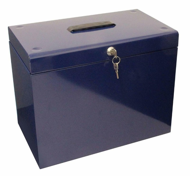 Image of CATHEDRAL A4 METAL FILE BOX BLUE A4BL