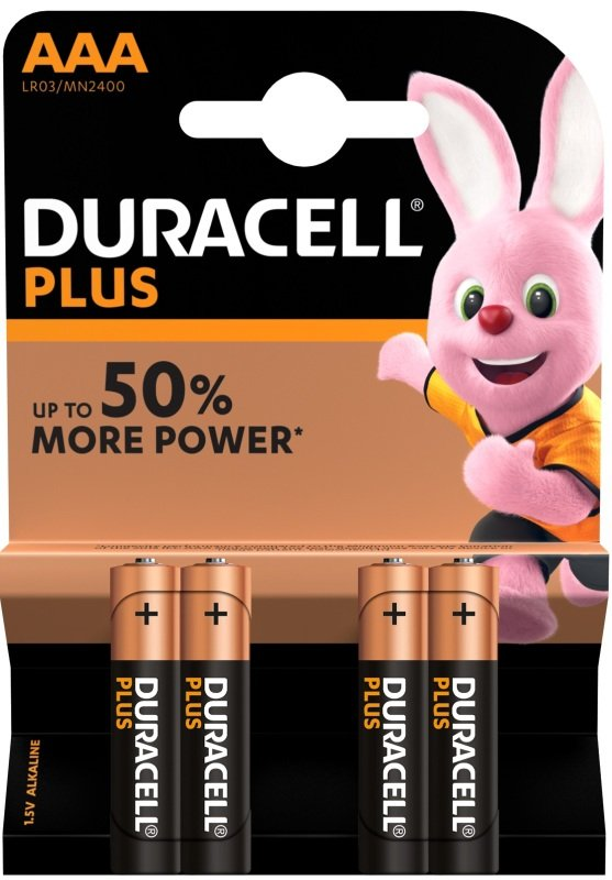Duracell Plus AAA Batteries 4 Pack