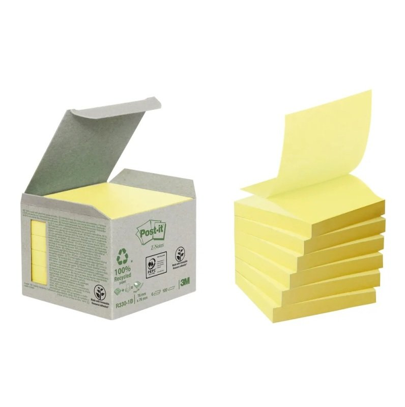 Postit Recycled Znotes 76x76 Yellow - 6 Pack