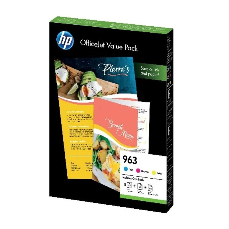 HP 963 Cyan/Magenta/Yellow Ink Cartridge and Paper A4 Office Value Pack