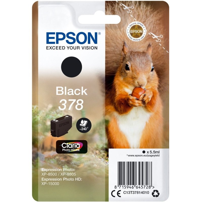 Epson Original 378 Black Claria Ink Cartridge