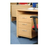 Mobile 3 Drawer Pedestal With Silver Handles 600mm Deep
