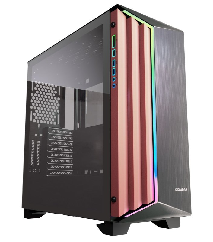 Image of Cougar Dark Blader S Premium Mid Tower Gaming Case Brushed Aluminium Front Pannel with RGB and Glass side window