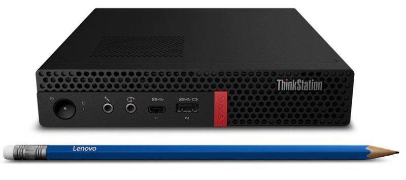 Image of Lenovo ThinkStation P330 Tiny Workstation, Intel Core i5-9500 3GHz, 8GB RAM, 256GB M.2 NVMe, No-DVD, Intel UHD, WIFI, Windows 10 Pro