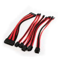 Xenta Premium Braided PSU Extension Cable Kit - Red & Black