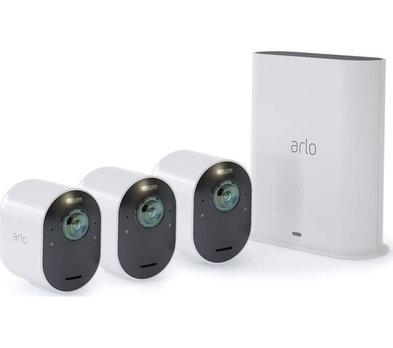 Arlo Ultra Smart Home Security Cameras | Alarm | Rechargeable | Colour Night Vision | Indoor/Outdoor | 4K UHD | 2-Way Audio | Spotlight | 180° View | 3 Camera Kit | VMS5340