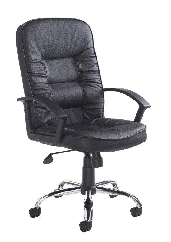 Hertford High Back Manager's Chair - Black Leather Faced