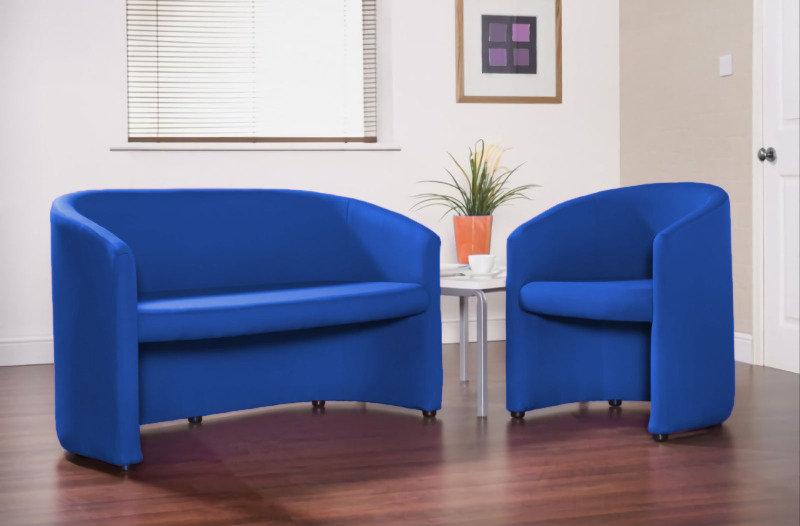Slender Fabric Reception Single Tub Chair 620mm Wide (Blue)
