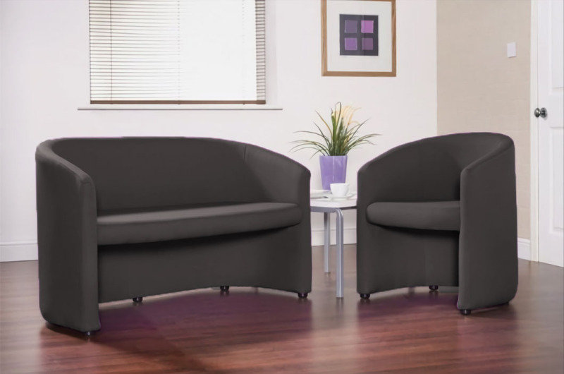 Slender Fabric Reception Single Tub Chair 620mm Wide (Charcoal)