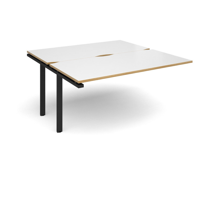 Adapt Sliding Top Add On Unit Single 1600mm x 1600mm - Black Frame, White Top With Oak Edging