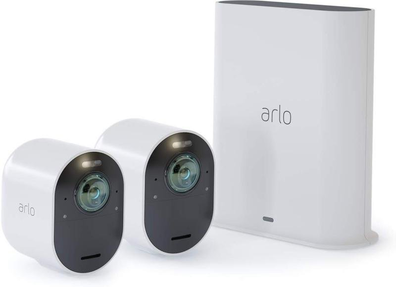 Arlo Ultra Smart Home Security Cameras | Alarm | Rechargeable | Colour Night Vision | Indoor/Outdoor | 4K UHD | 2-Way Audio | Spotlight | 180° View | 2 Camera Kit | VMS5240