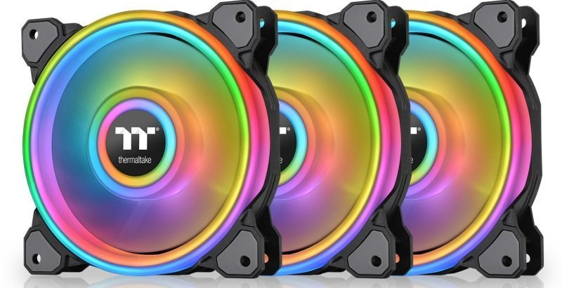 Thermaltake Riing Quad 140mm Black ARGB Fan 3-Pack - NeonMaker