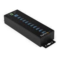 10-Port Industrial USB 3.0 Hub with External Power Adapter