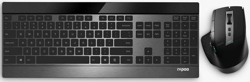 Rapoo 9900M Advanced Multi-mode Wireless Ultra-slim Alloy Combo Set - Black