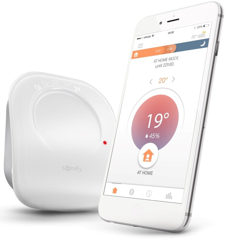 Somfy Connected Smart Thermostat Wired - Works with Alexa and Google Assistant