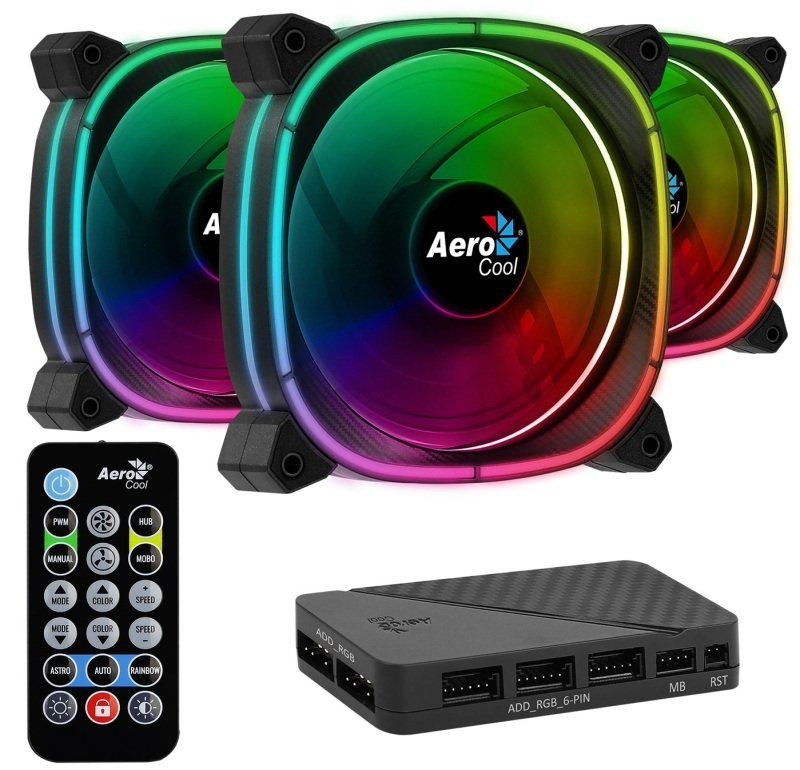 Aerocool Astro 12 Pro 3 Fan Pack + H66F Hub and Remote Control