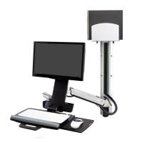 Ergotron StyleView Sit-Stand Combo System With Medium Silver CPU Holder