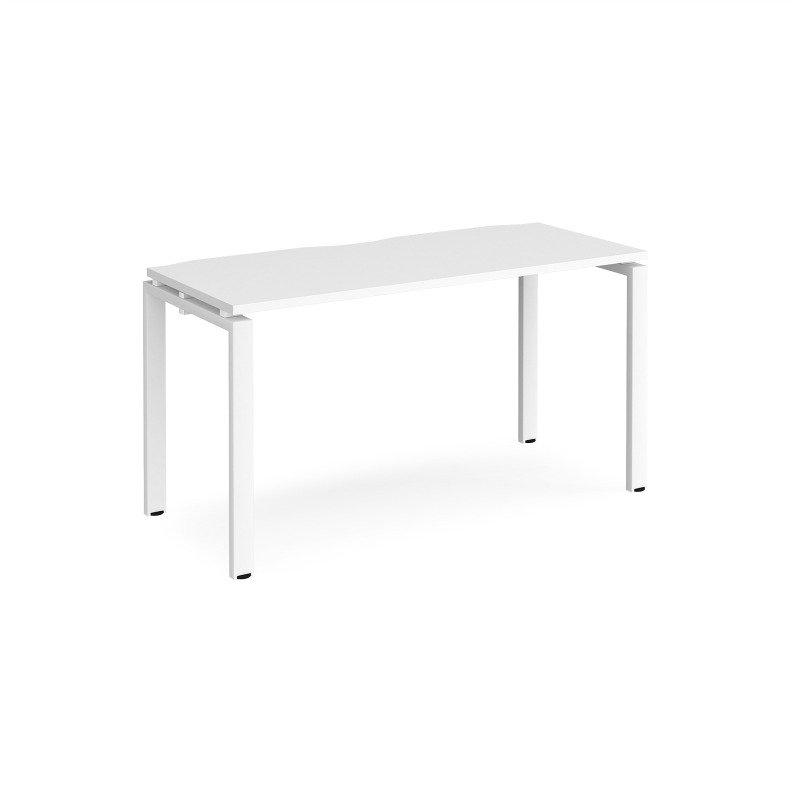 Adapt Single Desk 1400mm x 600mm - White Frame White Top