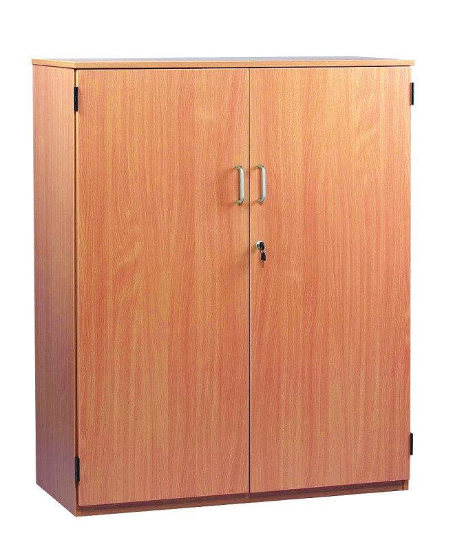 Stock Cupboard 18mm FSC Certified Beech MFC - 1 Fixed And 2 Adjustable Shelves/Lockable Doors & Handles