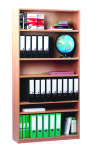 Open Bookcase 18mm FSC Certified Beech MFC - 1 Fixed And 4 Adjustable Shelves