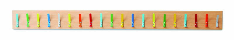 20 Coat Hooks On An 18mm FSC Certified Beech MFC Board (Coat Hooks Can Be Supplied Multi-Coloured Or As One Solid-Colour)