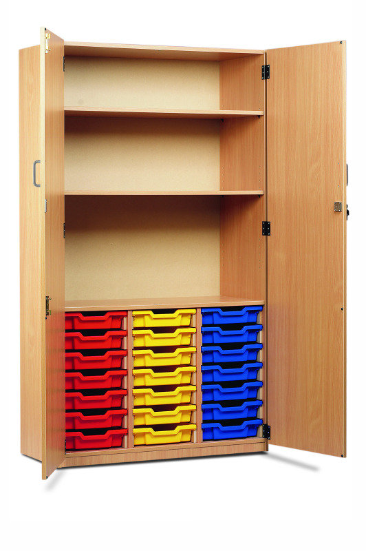 21 Shallow Tray Cupboard 18mm FSC Certified Beech MFC (Top Section: 2 Shelves, Bottom Section: Gratnells Trays On MDF Runners, Complete With Full Locking Doors And Handles)