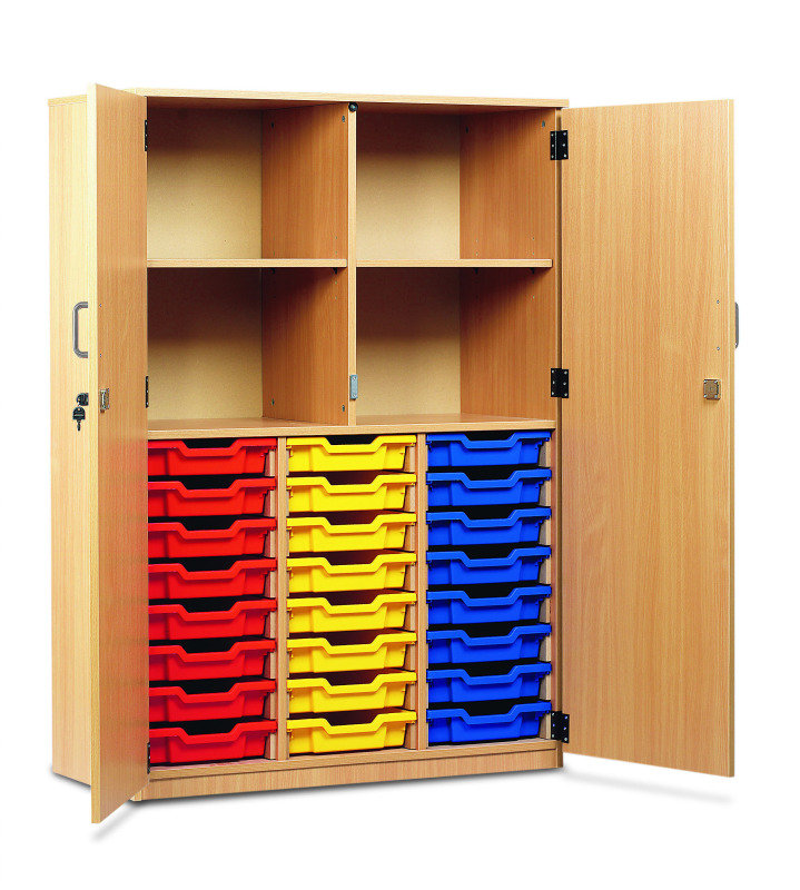 24 Shallow Tray Cupboard 18mm FSC Certified Beech MFC (Top Section: 4 Open Compartments, Bottom Section: Gratnells Trays On MDF Runners, Complete With Full Locking Doors And Handles)