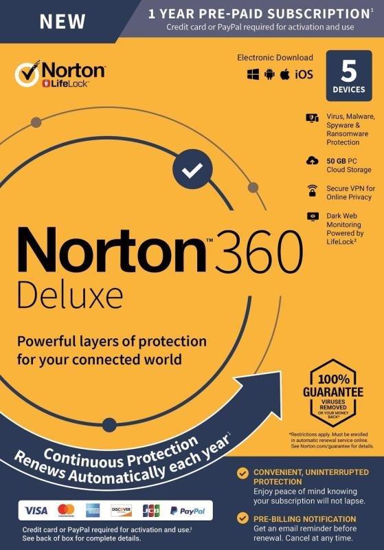 NORTON 360 DELUXE 50GB 1 USER 5 DEVICE 12MO STD UK