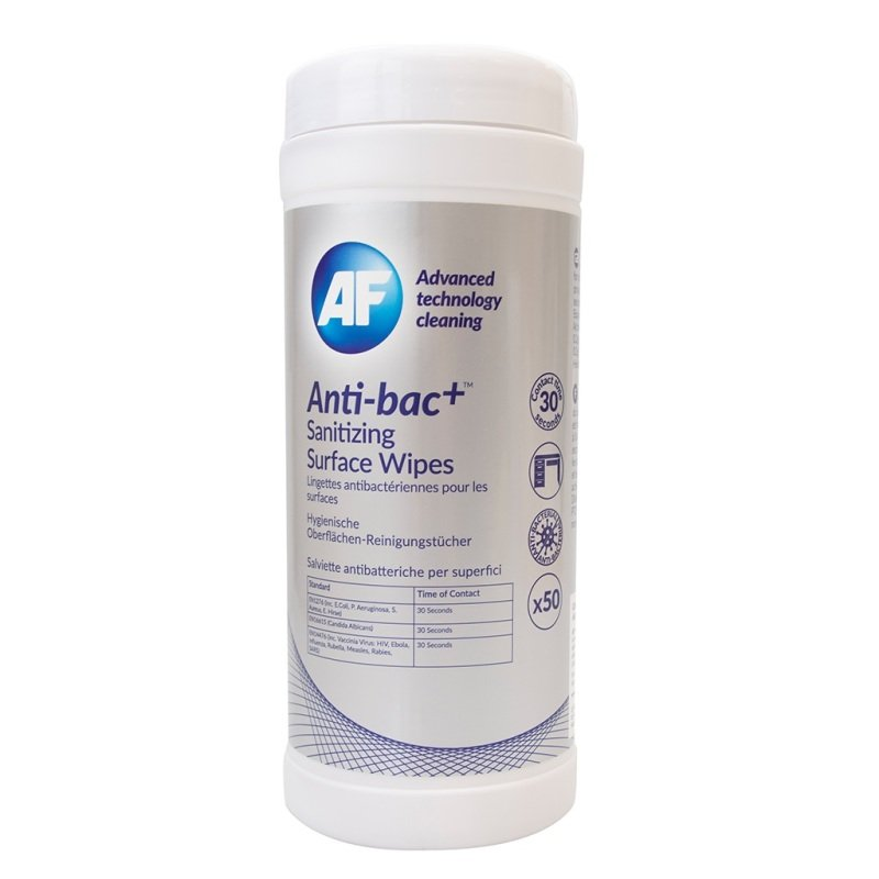 AF Anti-Bacterial Sanitising Surface Wipes - 50 Pack