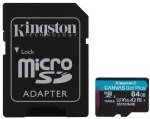 Kingston Canvas Go! Plus MicroSD 64GB UHS-I (U3) SD Card w/ SD Adaptor