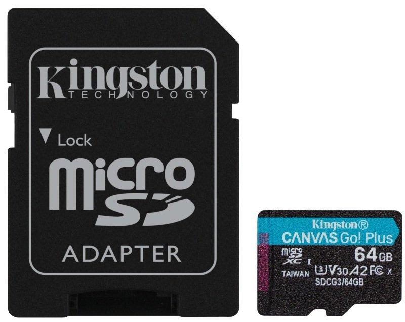Kingston Canvas Go! Plus MicroSD 64GB UHS-I (U3) SD Card w/ SD Adaptor