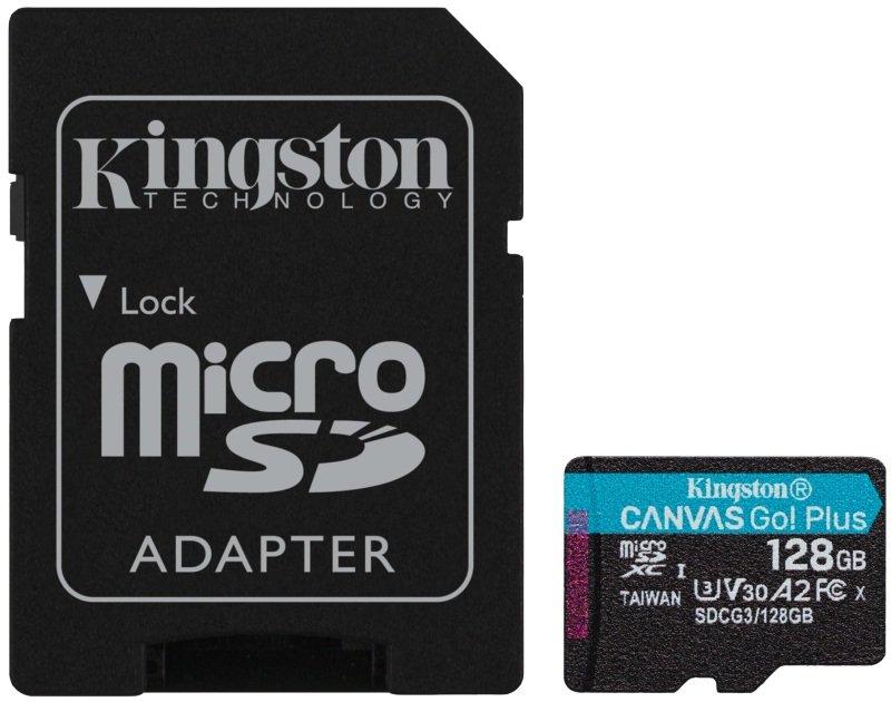 KINGSTON CANVAS GO! PLUS MICROSD 128GB UHS-I (U3) SD CARD W/ SD ADAPTOR