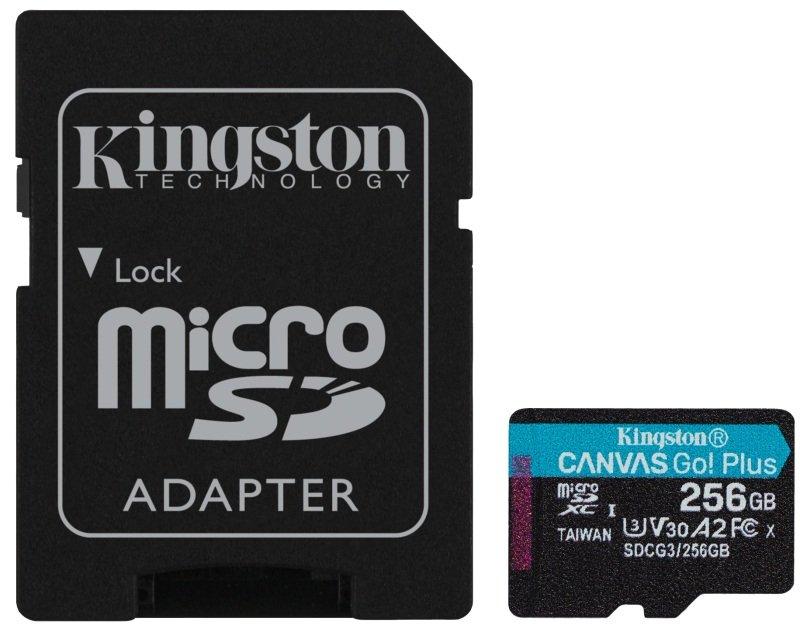 KINGSTON CANVAS GO! PLUS MICROSD 256GB UHS-I (U3) SD CARD With SD ADAPTOR