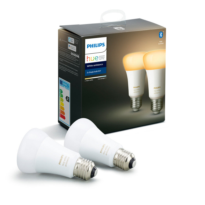 Philips Hue Bluetooth Smart Bulb - White Ambience E27 Twin Pack - Works with Alexa and Google Assistant*