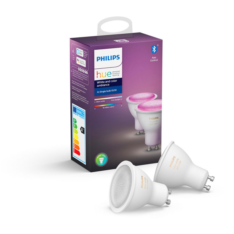 Philips Hue Bluetooth White And Colour Ambiance GU10 Smart Bulb Twin Pack - Works with Alexa and Google Assistant*