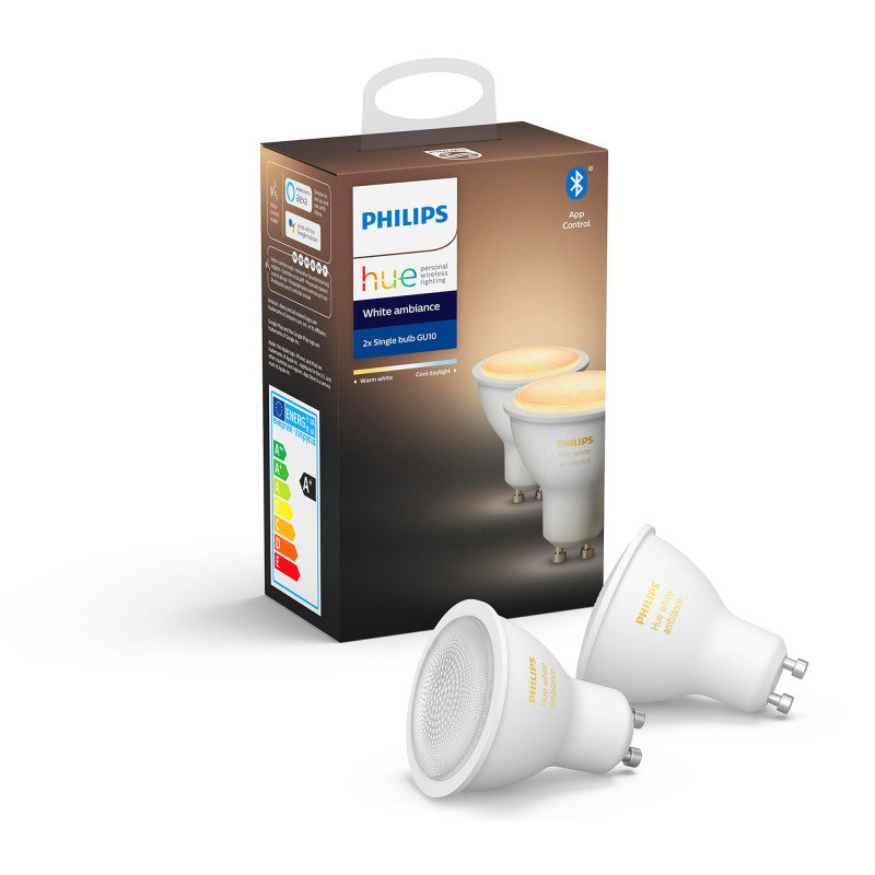 Philips Hue Bluetooth White Ambiance GU10 Smart Bulb Twin Pack - Works with Alexa and Google Assistant*